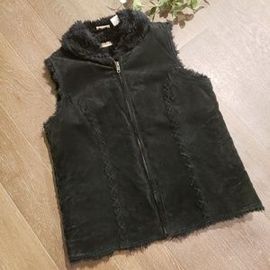Ruff Hewn Leather and Faux Fur Black Vest